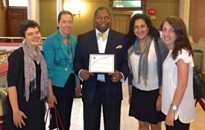 Chamonix Adams Porter, Janet Alfano of the New Haven Diaper Bank, Representative Gary Holder-Winfield, Hannah Sokoloff-Rubin, and Ana Rader