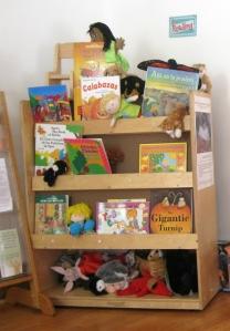 Una estantería llena de libros en español e inglés