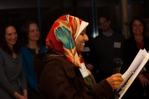 Jabeen speaking at our New Haven benefit
