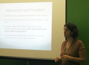 Dr. Sarah Gray explains the Circle of Security Project to interested providers