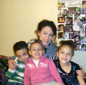 Lillian and her children, Daniel, Danasia, and Daniella