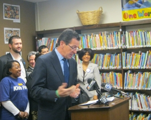 Governor Malloy announcing the new family child care agreement today in Waterbury.