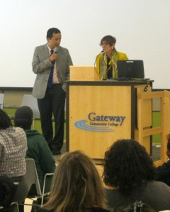 Congresswoman Rosa DeLauro addresses the audience of family child care providers