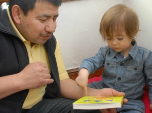 Reading in a family child care program.