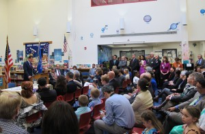 Governor Malloy addressing the crowd at Helen Street School.