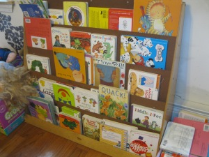 Bookshelves like this one allow small children to reach their favorite books without an adult's help.