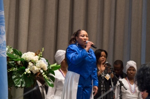 Dionne Lamothe sings in honor of UN staff who were killed in the Haiti earthquake five years ago