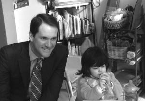 Congressman Jim Himes visits an All Our Kin family child care program.
