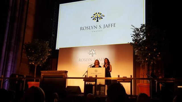 Jessica & Janna speak at the Jaffe Awards ceremony in New York City